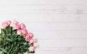 Картинка цветы, нежность, розы, розовые, бутоны, wood, pink, beauty, декор, bouquet, roses, decoration