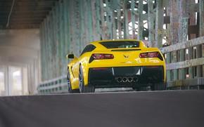 Картинка желтый, дизайн, вид сзади, Corvette Chevrolet