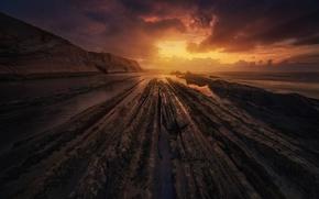 Картинка море, природа, скалы, вечер, Испания