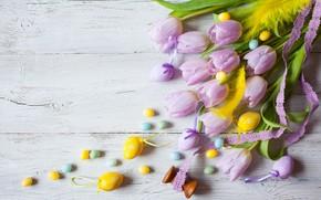 Картинка праздник, букет, Пасха, тюльпаны, wood, flowers, декор, Easter, eggs, candy