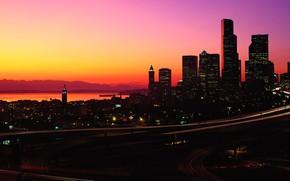 Картинка city, lights, USA, twilight, road, sea, ocean, sunset, night, mountains, evening, Washington, buildings, architecture, highway, ...