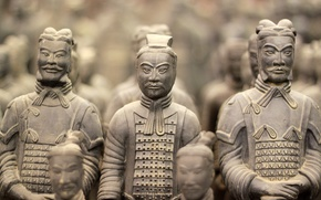 Обои my planet, travel, Китай, знаменитая, древние, боке, размытость, wallpaper., воины, крупным планом, 210г.до н.э., скульптуры ...