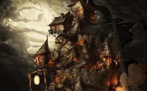 Картинка ночь, дым, game, полнолуние, лачуги, каменная стена, The Whispered World, на горе, жилище ведьм, Ускользающий …