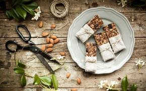 Картинка цветы, печенье, орехи, десерт, wood, миндаль