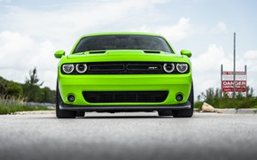 Картинка Dodge, Challenger, Front, Yellow, Face, Sight