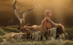 Картинка море, волны, шторм, лицо, камни, дождь, волосы, корабль, русалка, хвост