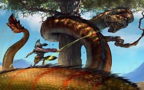Картинка дерево, змей, схватка, зверёк, The Battle