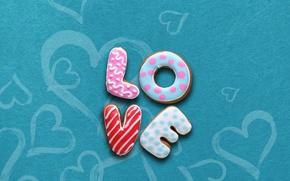 Обои глазурь, буквы, печенье, love, cookies, еда