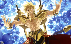 Картинка gold, Fate Stay Night, armor, anime, Gilgamesh, warrior, manga, powerful, strong, light novel, Tupe Moon
