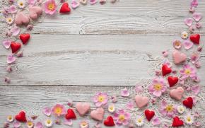 Обои декор, розовые, лепестки, ромашки, сердечки, фон, марципан, цветы