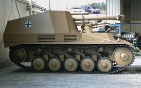 Картинка войны, установка, Sd. Kfz. 124, самоходно-артиллерийская, немецкая, мировой, Второй, времён, Panzerhaubitze Wespe