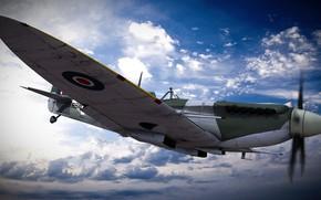Картинка полёт, самолёт, supermarine spitfire