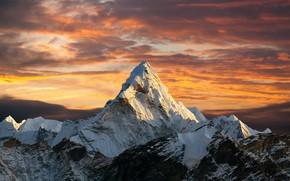 Картинка sunset, mountain, snow