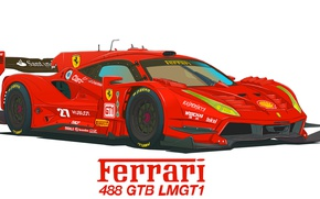 Обои LMGT1, Ferrari, Рисунок, 488 GTB
