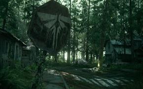 Обои лес, деревья, дом, знак, арт, цикады, Naughty Dog, The Last of Us Part II
