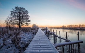 Картинка зима, снег, мост, река