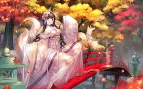 Обои лиса, ушки, девушка, хвост, листья, art, мост, anime, sheska xue