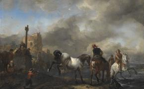 Картинка пейзаж, дерево, масло, картина, Филипс Вауэрман, Всадники у Реки