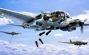 Обои Германия, art, Бомбардировщик, Heinkel, Вторая Мировая война, He-111, WWII, авиабомбы
