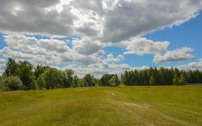 Картинка Небо, Природа, Облака, Поле, Тропинка, Деревья, Nature, Clouds, Sky, Field, Trees