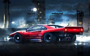 Картинка Красный, Авто, Рисунок, Машина, Фон, Ferrari, Car, Автомобиль, Арт, Art, GTO, Рендеринг, 288, Ferrari GTO, …