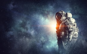 Обои suit, astronaut, man, space
