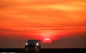 Обои солнце, трэк, Gallardo, гонка, Lamborghini, Super Trofeo, утро