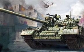 Обои боевые действия, советский средний танк, война, рисунок, Т-55АМВ, навесная динамическая защита, Ми-24