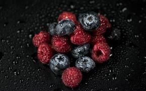 Картинка капли, ягоды, малина, черника