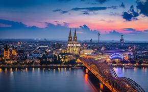 Картинка свет, мост, город, огни, Германия, Кёльнский собор, Кёльн