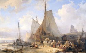 Обои Wijnand Nuijen, парус, Рыбацкие Лодки на Пляже с Рыбаками и Женщинами, Сортирующими Улов, масло, картина, ...