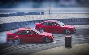Картинка Красный, Авто, BMW, Машина, Асфальт, Занос, Машины, Красные, Дрифт, BMW M3, DRIFT, Два, Tandem DRIFT