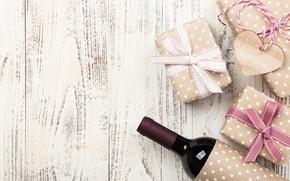Картинка любовь, подарок, вино, сердце, бутылка, love, heart, wood, wine, romantic, Valentine's Day, gift