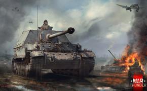 Картинка мотоцикл, САУ, Штука, дим, Фердинанд, Ferdinand, War Thunder