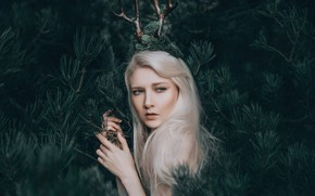 Картинка лес, девушка, рога, Maria Amanda, Adam Bird, The Woodland Fairy
