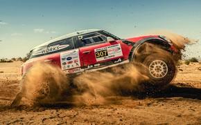 Картинка Песок, Красный, Авто, Mini, Спорт, Машина, Скорость, Гонка, Автомобиль, 307, Rally, Внедорожник, Ралли, X-Raid Team, …
