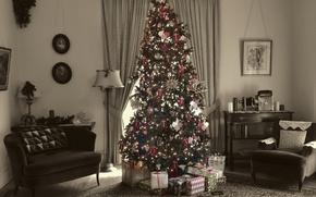 Картинка дом, праздник, ёлка, Merry Christmas