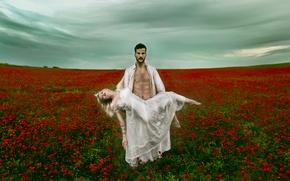 Картинка поле, девушка, цветы, маки, ситуация, парень, Vanessa Galway, Victor Brenes