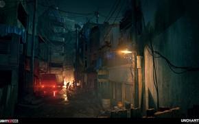 Картинка ночь, улица, автомобиль, разборки, фонар, Uncharted The Lost Legacy, Occupied City