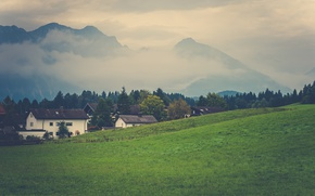 Картинка grass, mountains, clouds, fog, slope, village, countryside