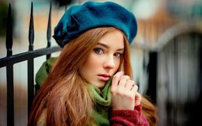 Картинка взгляд, девушка, лицо, фото, волосы, берет, Olga Boyko
