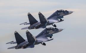 Обои Россия, пара, полёт, многоцелевой, истребитель, Су-30СМ