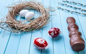 Картинка шоколад, яйца, colorful, кролик, конфеты, Пасха, wood, верба, chocolate, spring, Easter, eggs, bunny, candy, decoration, …