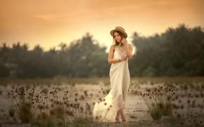 Картинка девушка, поза, настроение, платье, девочка, шляпка, Анюта Онтикова