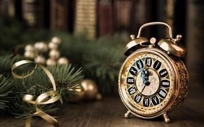Обои holiday, елка, Christmas tree, часы, Новый год, watch, new year