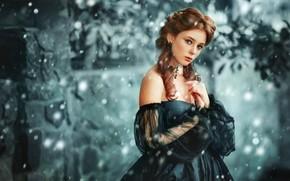 Картинка взгляд, девушка, снег, стиль, настроение, платье, декольте, локоны, Ольга Бойко