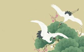 Картинка деревья, рисунок, вектор, весна, сакура, арт, пара, полёт, журавль