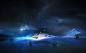 Картинка море, небо, вода, звезды, ночь, фантастика, бабочка, корабли, космонавт, путешественник, астронавт, interstellar