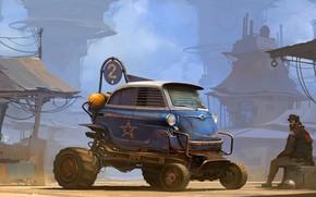 Картинка транспорт, мужик, сооружения, автомобиль, Isetta XXL