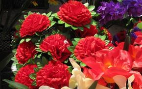 Картинка красные, искуственные цветы, весна 2018, Mamala ©